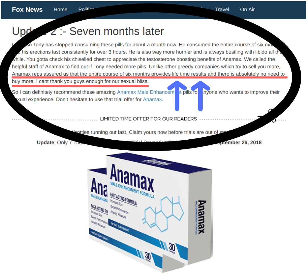 The Anamax ED pills supposedly last a lifetime, which is not possible