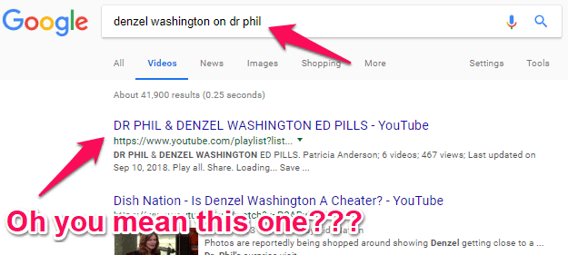 first result in google search for denzel washington on dr phil