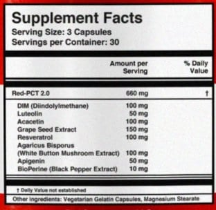 red pct 2.0 ingredients label
