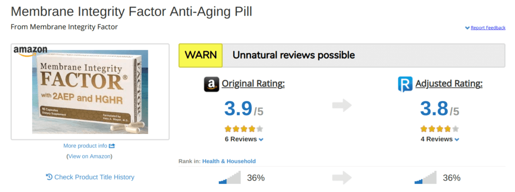 Membrane Integrity Factor potentially has fake reviews