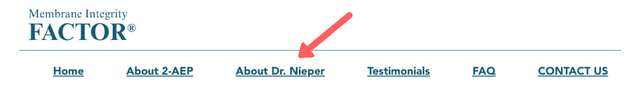 Doctor Nieper has no affiliation with Membrane Integrity Factor
