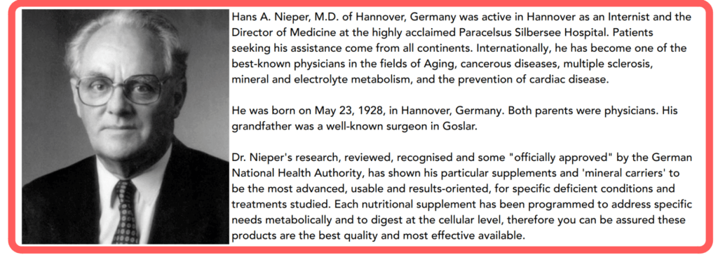 Dr Nieper is supposedly the inventor of Membrane Integrity Factor