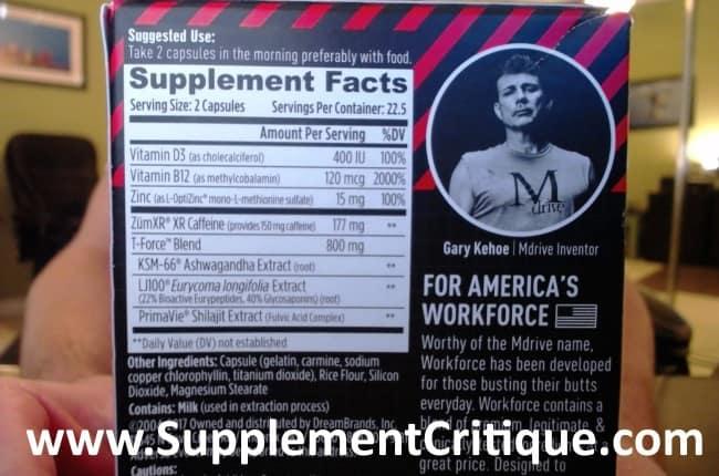 MDrive Workforce ingredients label